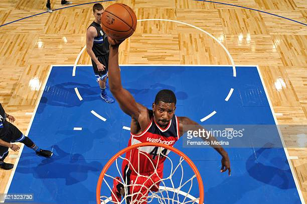 Andrew Nicholson of the Washington Wizards goes up for a dunk during a game against the Orlando Magic on November 5 2016 at the Amway Center in...