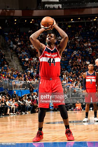 Andrew Nicholson of the Washington Wizards shoots a free throw during a game against the Orlando Magic on November 5 2016 at the Amway Center in...