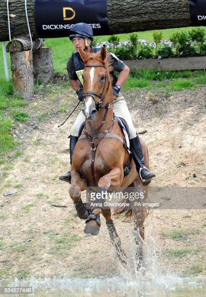 Andrew Nicholson riding Armada goes through the water during the cross country course at Bramham International Horse Trials Bramham Leeds