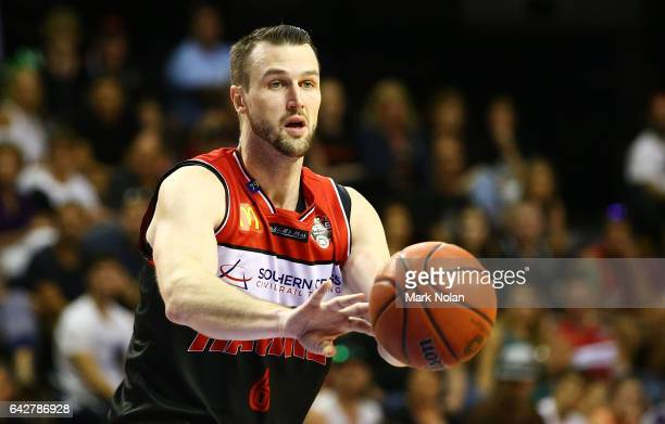 Andrew Ogilvy of the Hawks passes during the second NBL Semi Final match between Illawarra Hawks and the Adelaide 36ers at WIN Entertainment Centre...