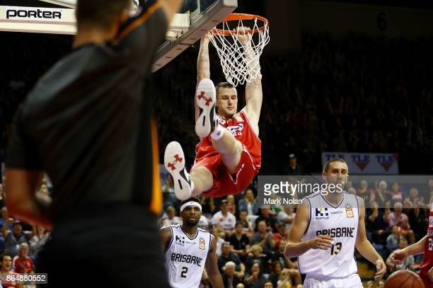 Andrew Ogilvy of the Hawks slam dunks the ball during the round three NBL match between the Illawarra Hawks and the Brisbane Bullets at Wollongong...