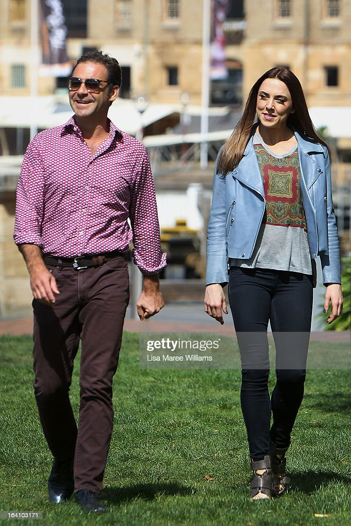 Andrew O'Keefe and Melanie C from the cast of Jesus Christ Superstar arrive for a media call at Hicksons Road Reserve in The Rocks, on March 20, 2013 in Sydney, Australia.