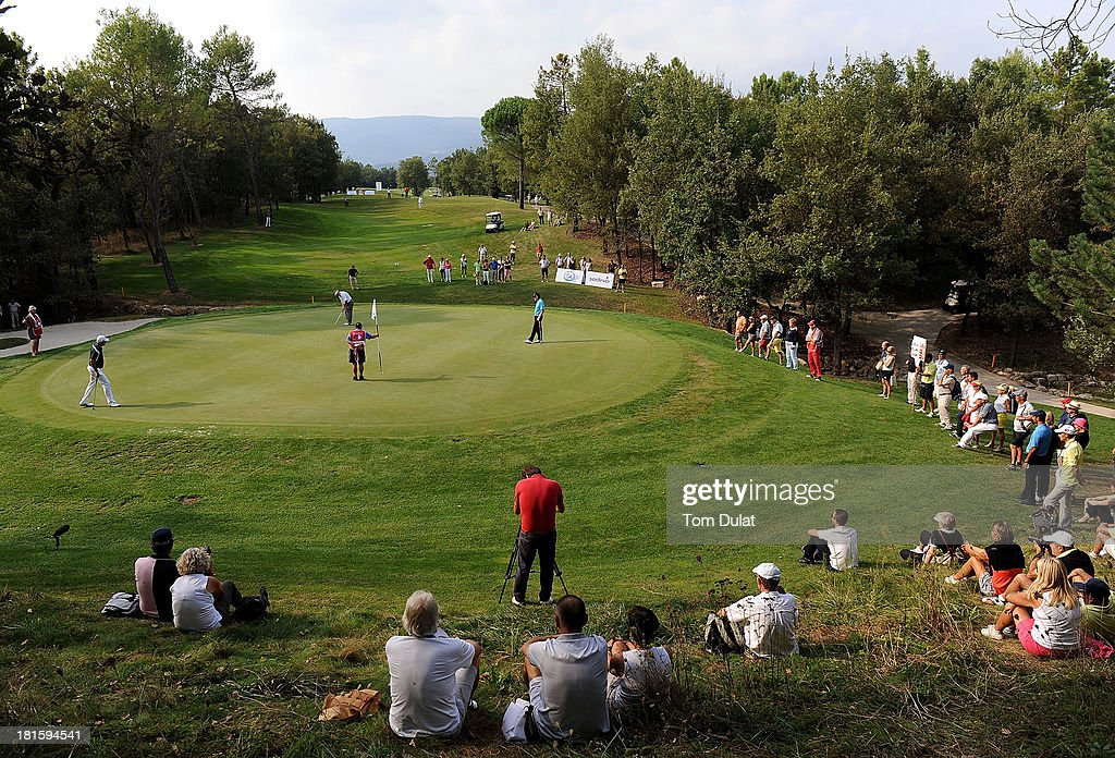 <a gi-track='captionPersonalityLinkClicked' href=/galleries/search?phrase=Andrew+Oldcorn&family=editorial&specificpeople=228408 ng-click='$event.stopPropagation()'>Andrew Oldcorn</a> of Scotland makes a putt during the final round of the French Riviera Masters played over the Chateau Course, Terre Blanche Resort on September 22, 2013 in Provencheres-sur-Fave, France.