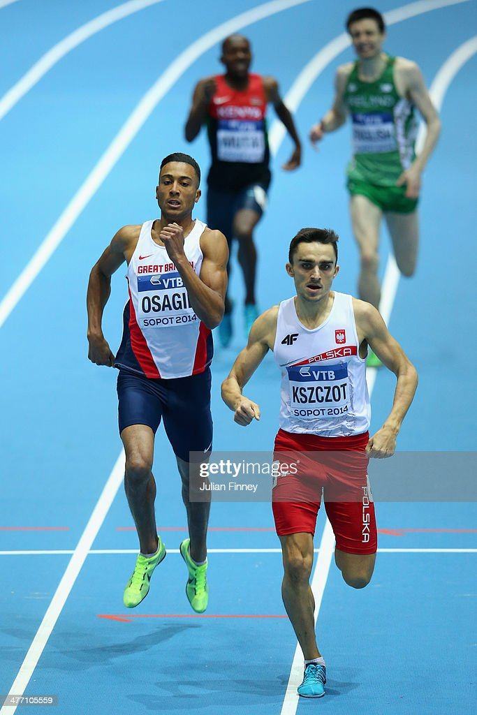 <a gi-track='captionPersonalityLinkClicked' href=/galleries/search?phrase=Andrew+Osagie&family=editorial&specificpeople=5101846 ng-click='$event.stopPropagation()'>Andrew Osagie</a> (L) of Great Britain competes with <a gi-track='captionPersonalityLinkClicked' href=/galleries/search?phrase=Adam+Kszczot&family=editorial&specificpeople=5746296 ng-click='$event.stopPropagation()'>Adam Kszczot</a> of Poland during the Men's 800m heats during day one of the IAAF World Indoor Championships at Ergo Arena on March 7, 2014 in Sopot, Poland.