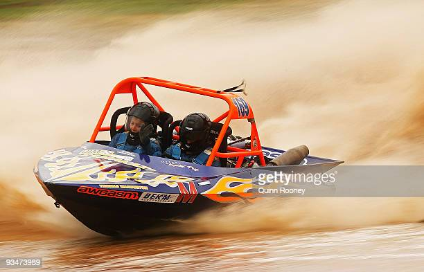 Andrew Page and Megan Campbell of Australia compete in their boat Kamakazi during the 2009 World Jetsprint Championships at the Melton Motorsports...