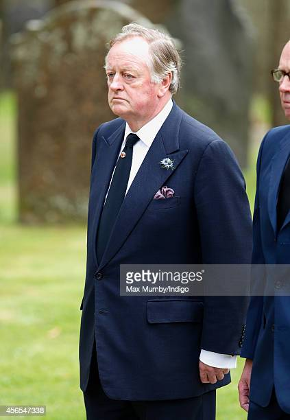 Andrew Parker Bowles attends the funeral of Deborah Dowager Duchess of Devonshire at St Peter's Church Edensor on October 2 2014 in Chatsworth...
