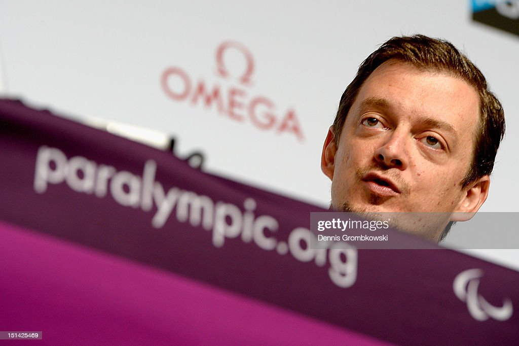 Andrew Parsons, president of the Brazilian Paralympic Committee CBP, speaks during a press conference due to Rio 2016 Paralympic Games and Flag Handover on day 9 of the London 2012 Paralympic Games at on September 7, 2012 in London, England.
