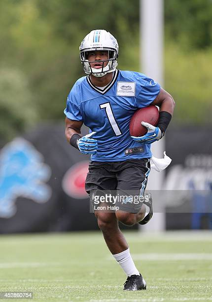 Andrew Peacock of the Detroit Lions goes through the passing drills during training camp at the Detroit Lions training facility on July 28 2014 in...