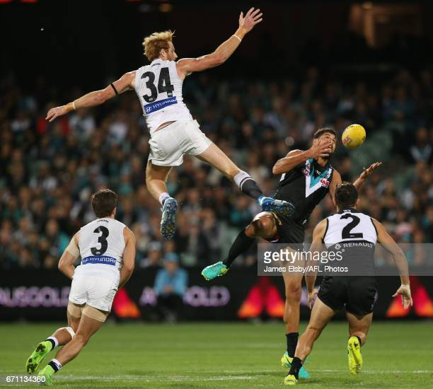 Andrew Phillips of the Blues competes with Paddy Ryder of the Power during the 2017 AFL round 05 match between Port Adelaide Power and the Carlton...