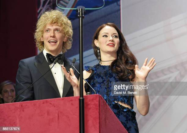 Andrew Polec and Christina Bennington accept the Evening Standard Radio 2 Audience Award for Best Musical for 'Bat Out Of Hell The Musical' at the...