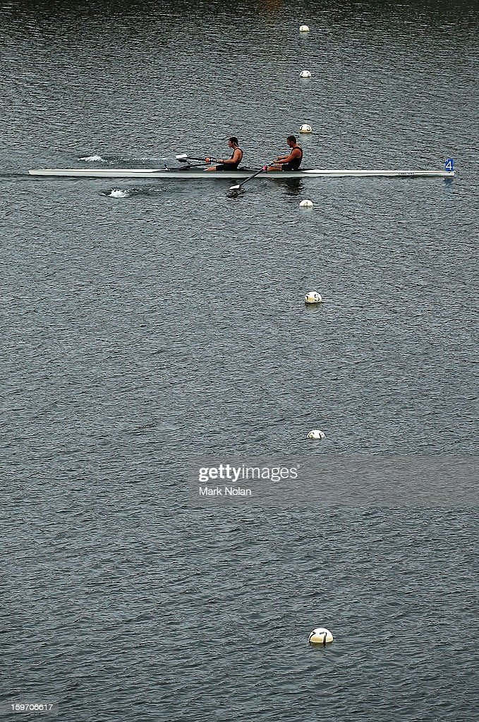 Andrew Potter and Tom Jenkins of New Zealand win the Men's Coxless Pair at the rowing on day four of the Australian Youth Olympic Festival at Sydney...