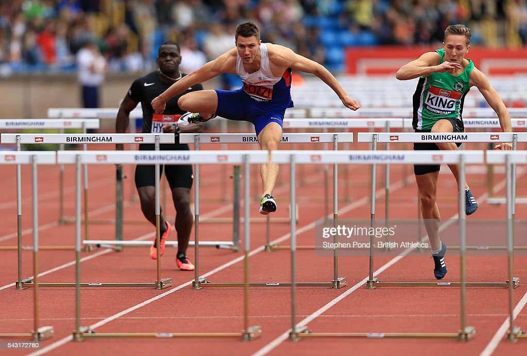 Andrew Pozzi of Great Britain in the mens 110m hurdles during day three of the British Championships Birmingham at Alexander Stadium on June 26, 2016 in Birmingham, England.