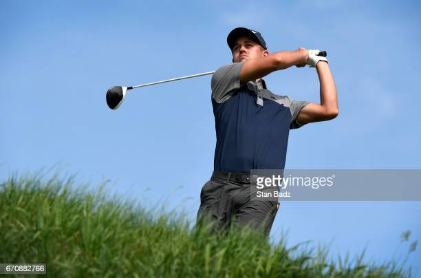 Andrew Putnam hits a drive on the ninth hole during the first round of the Webcom Tour United Leasing Finance Championship at Victoria National Golf...