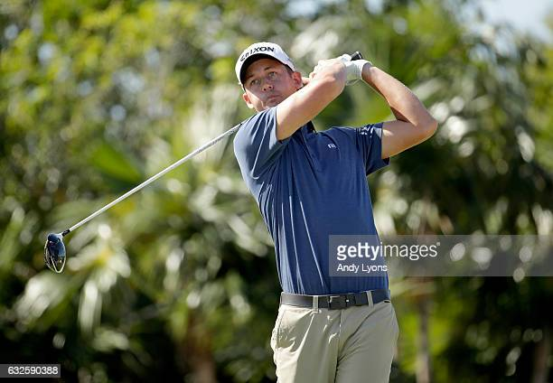 Andrew Putnam hits his tee shot on the 14th hole during the second round of The Bahamas Great Abaco Classic at the Abaco Club on January 24 2017 in...