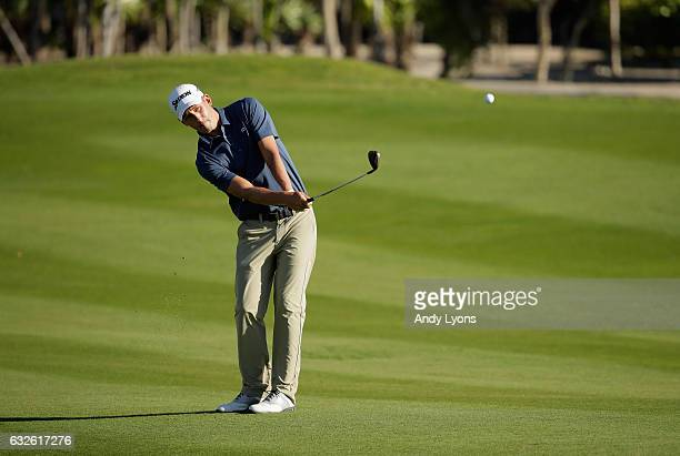 Andrew Putnam hits his third shot on the first hole during the third round of The Bahamas Great Abaco Classic at the Abaco Club on January 24 2017 in...