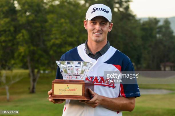 Andrew Putnam holds the trophy during the Panama Claro Championship at Panama Golf Club on Feb 19 2017 in Panama City Panama