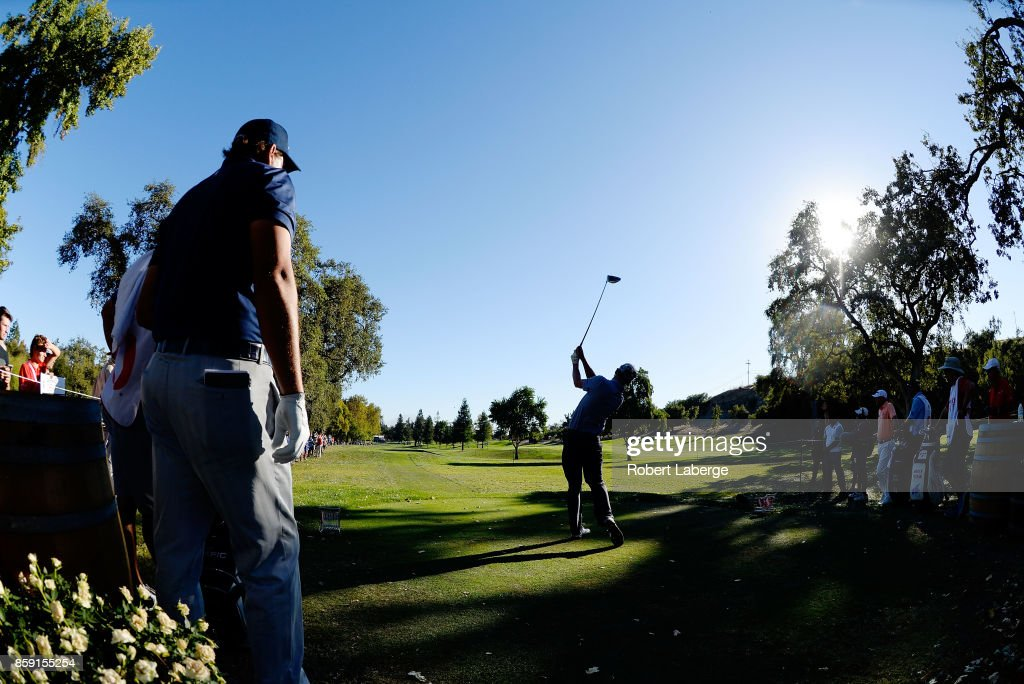 Andrew Putnam plays his shot from the 16th tee during the final round of the Safeway Open at the North Course of the Silverado Resort and Spa on October 8, 2017 in Napa, California.