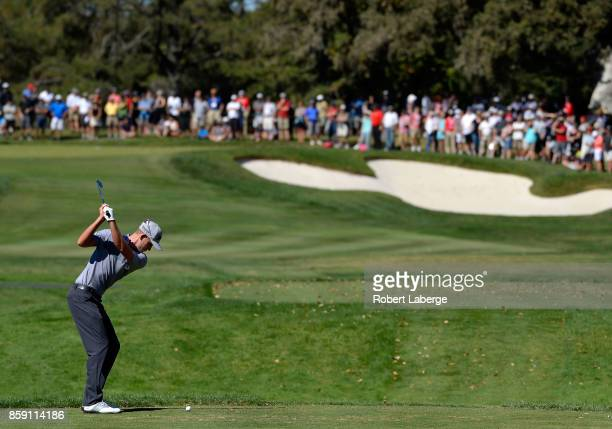 Andrew Putnam plays his shot from the second tee during the final round of the Safeway Open at the North Course of the Silverado Resort and Spa on...