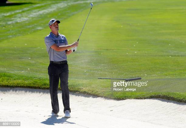 Andrew Putnam plays his shot out of the bunker on the fourth hole during the final round of the Safeway Open at the North Course of the Silverado...