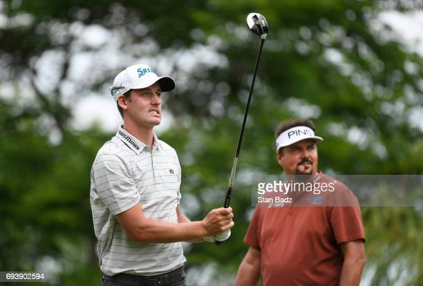 Andrew Putnam reacts to his tee shot on the third hole during the first round of the Webcom Tour RustOleum Championship at Ivanhoe Club on June 8...