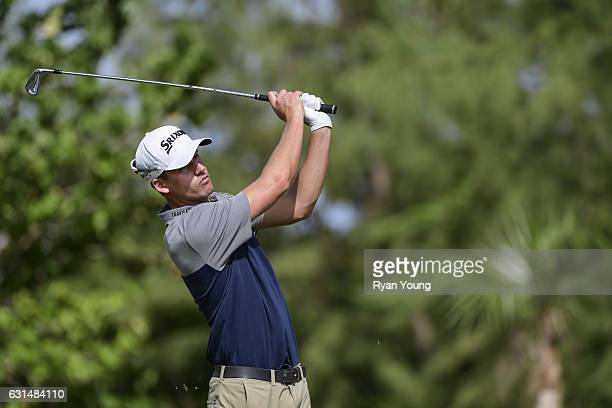 Andrew Putnam tees off on the second hole during the final round of The Bahamas Great Exuma Classic at Sandals Emerald Bay Course on January 11 2017...