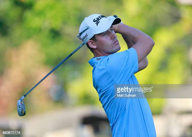 Andrew Putnam watches his tee shot on the fifth hole during the first round of the Webcom Tour DAP Championship on September 21 2017 in Beachwood Ohio