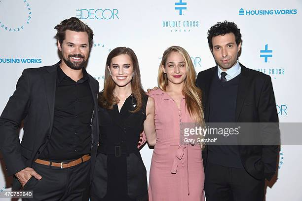 Andrew Rannells Allison Williams Jemima Kirke and Alex Karpovsky attend the Housing Works Groundbreaker Awards 2015 at Metropolitan Pavilion on April...