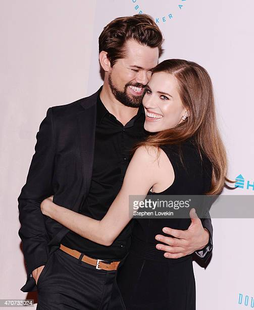 Andrew Rannells and Allison Williams attend the 2015 Housing Works Groundbreaker Awards at Metropolitan Pavilion on April 22 2015 in New York City