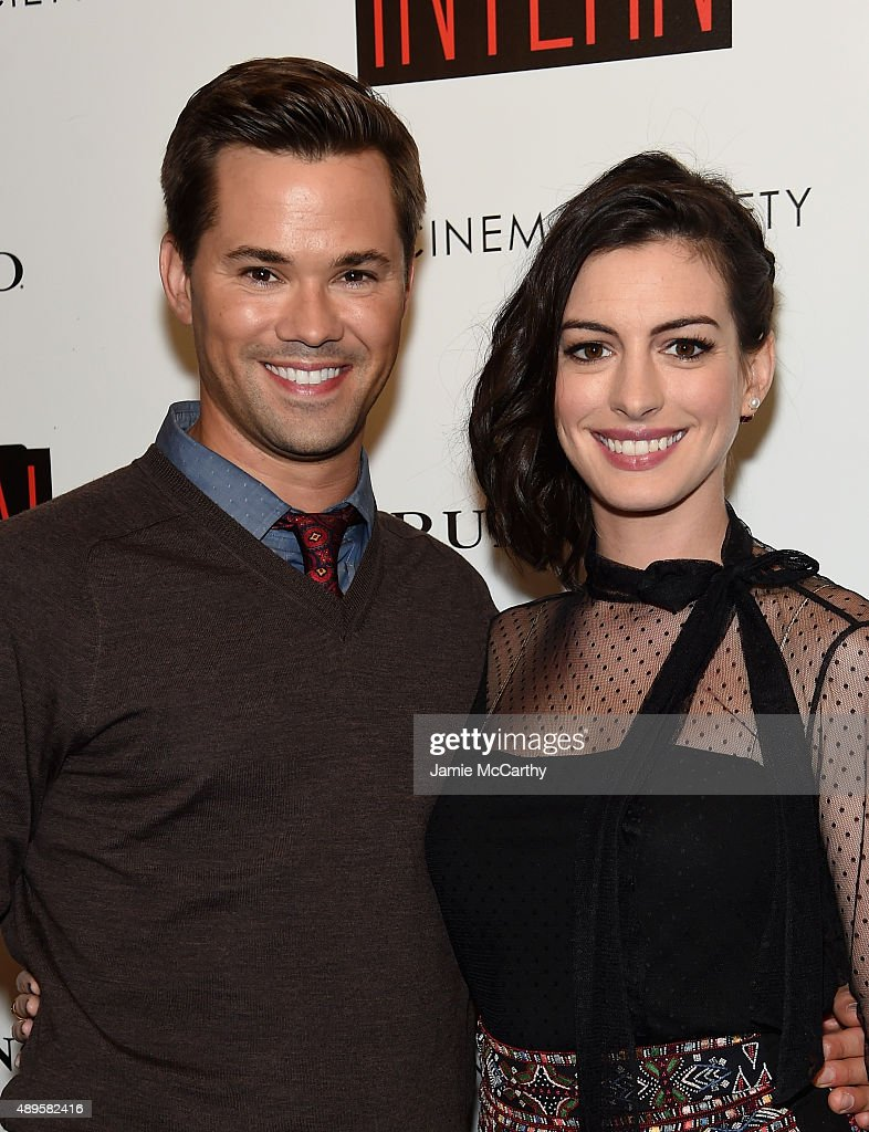 Andrew Rannells and Anne Hathaway attend a screening of Warner Bros. Pictures 'The Intern' hosted by The Cinema Society And Ruffino on September 22, 2015 in New York City.