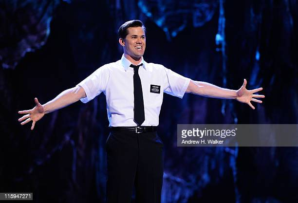 Andrew Rannells and the cast of 'The Book of Mormon' performs on stage during the 65th Annual Tony Awards at the Beacon Theatre on June 12 2011 in...