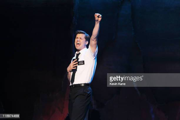 Andrew Rannells and the cast of 'The Book of Mormon' performs on stage on stage during the 65th Annual Tony Awards at the Beacon Theatre on June 12...