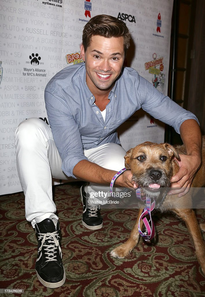 <a gi-track='captionPersonalityLinkClicked' href=/galleries/search?phrase=Andrew+Rannells&family=editorial&specificpeople=2471329 ng-click='$event.stopPropagation()'>Andrew Rannells</a> backstage during Broadway Barks 15 in Shubert Alley on July 13, 2013 in New York City.