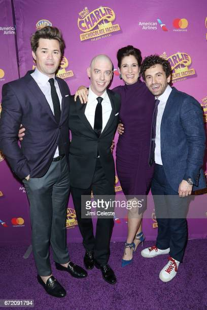 Andrew Rannells Christian Borle Stephanie J Block and Drew Gasparini attend 'Charlie And The Chocolate Factory' Broadway Opening Night at Pier 60 on...