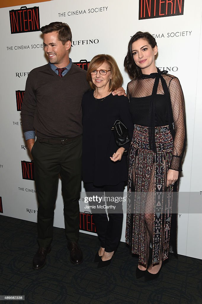 Andrew Rannells, Nancy Meyers and Anne Hathaway attend a screening of Warner Bros. Pictures 'The Intern' hosted by The Cinema Society And Ruffino on September 22, 2015 in New York City.