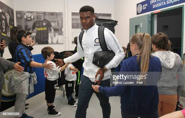 Andrew Rayan Gravillon of FC Internazionale arrives prior to the Serie A match between FC Internazionale and US Sassuolo at Stadio Giuseppe Meazza on...