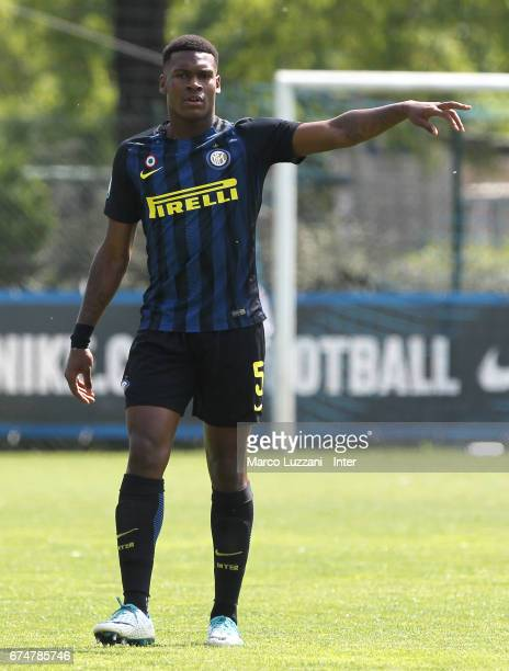 Andrew Rayan Gravillon of FC Internazionale gestures during the Primavera Tim juvenile match between FC Internazionale and Bologna FC at Centro di...