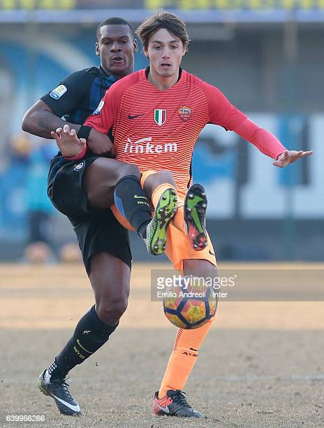 Andrew Rayan Gravillon of FC Internazionale Milano competes for the ball with Edoardo Soleri of As Roma during the Primavera Tim Cup juvenile match...