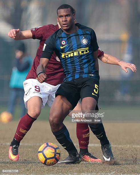 Andrew Rayan Gravillon of FC Internazionale Milano in action during the Primavera Tim juvenile match between FC Internazionale and US Salernitana at...