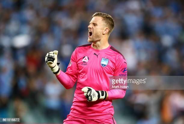 Andrew Redmayne of Sydney celebrates a Sydney goal during the round two ALeague match between Sydney FC and the Wellington Phoenix at Allianz Stadium...
