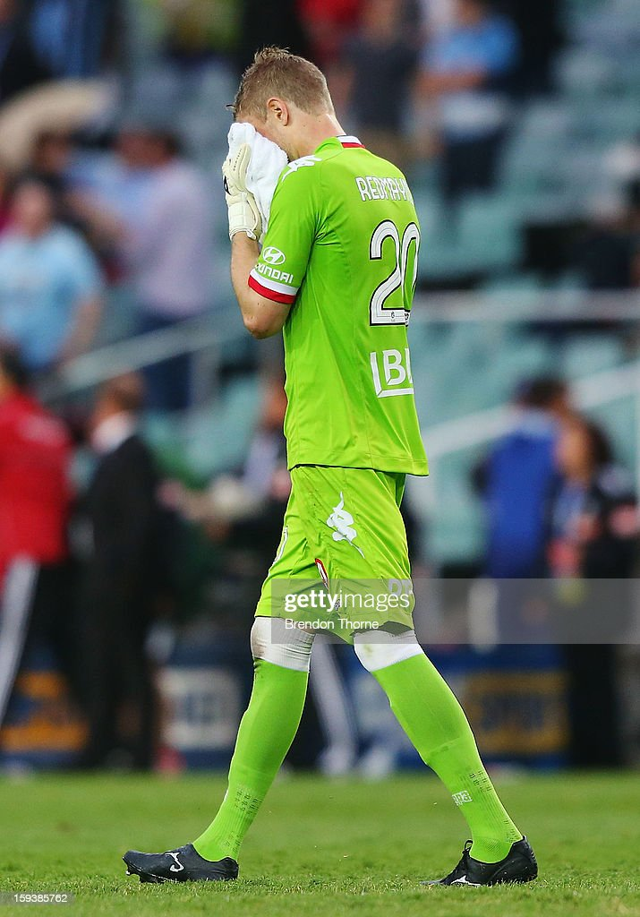 Andrew Redmayne of the Heart looks dejected at full time during the round 16 A-League match between Sydney FC and the Melbourne Heart at Allianz Stadium on January 13, 2013 in Sydney, Australia.