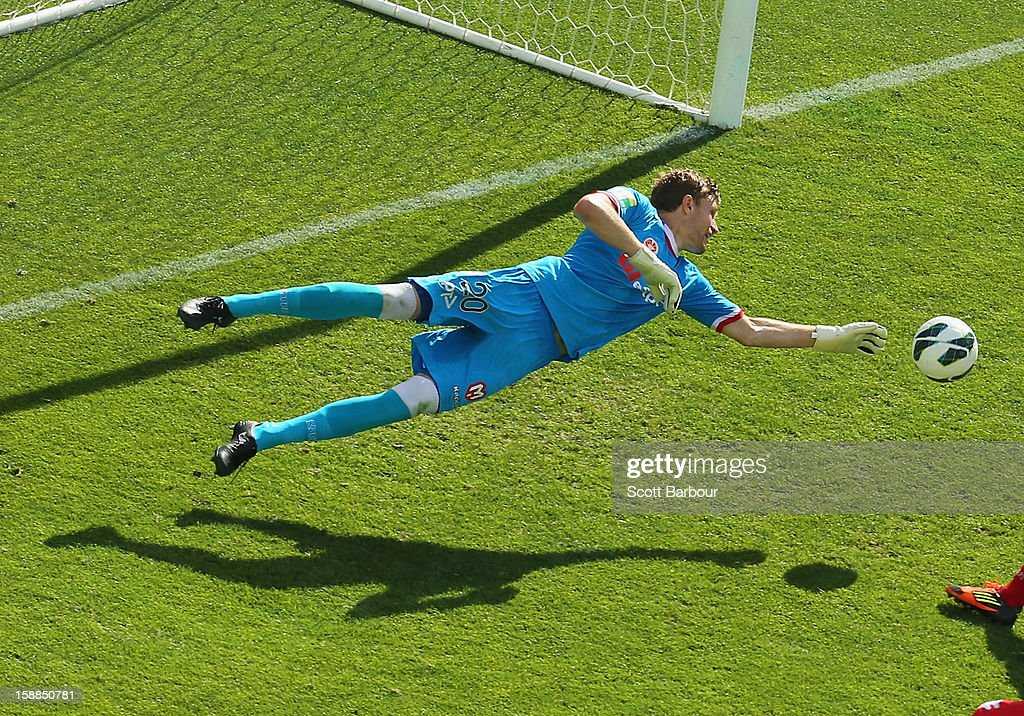 Andrew Redmayne of the Heart makes a save during the round 14 A-League match between Melbourne Heart and the Newcastle Jets at AAMI Park on January 1, 2013 in Melbourne, Australia.