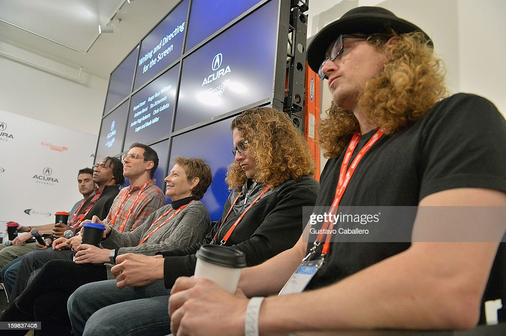 Andrew Renzi, Roger Ross Williams, Stu Zicherman, Naomi Foner, Logan Miller and Noah Miller attend the Acura Master Class - Writing and Directing for the Screen on January 21, 2013 in Park City, Utah.