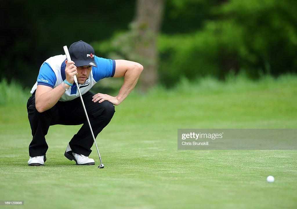 Andrew Richardson of Middlesbrough Golf Club lines up a putt during the Powerade PGA Assistants' Championship Regional Qualifier at Penwortham Golf Club on May 20, 2013 in Preston, England.