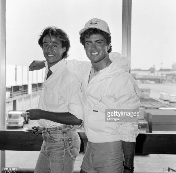 Andrew Ridgeley and George Michael of the pop group Wham arriving at Heathrow airport from Miami where they have been making a video 1st May 1984