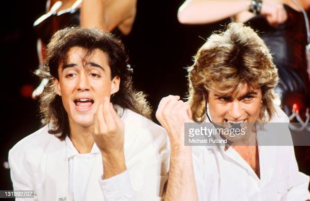 Andrew Ridgeley and George Michael of Wham perform on stage at Sydney Entertainment Centre Sydney Australia 27th January 1985
