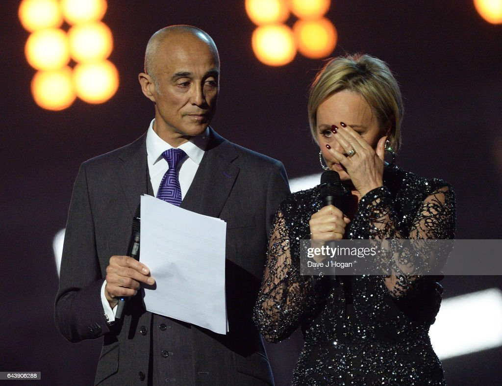 ONLY. (L) Andrew Ridgeley and Shirlie Holliman speak on stage at The BRIT Awards 2017 at The O2 Arena on February 22, 2017 in London, England.