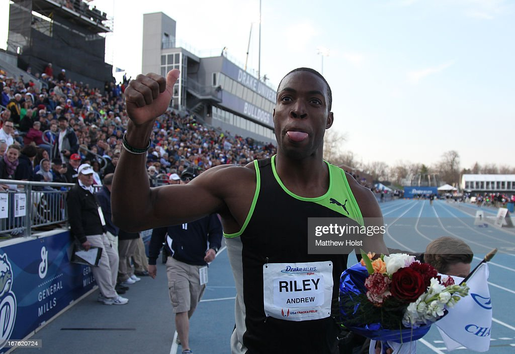 Andrew Riley of Puma celebrates after winning the Men's 110 Meter Hurdles London Games Rematch at the Drake Relays, on April 26, 2013 at Drake Stadium, in Des Moines, Iowa.