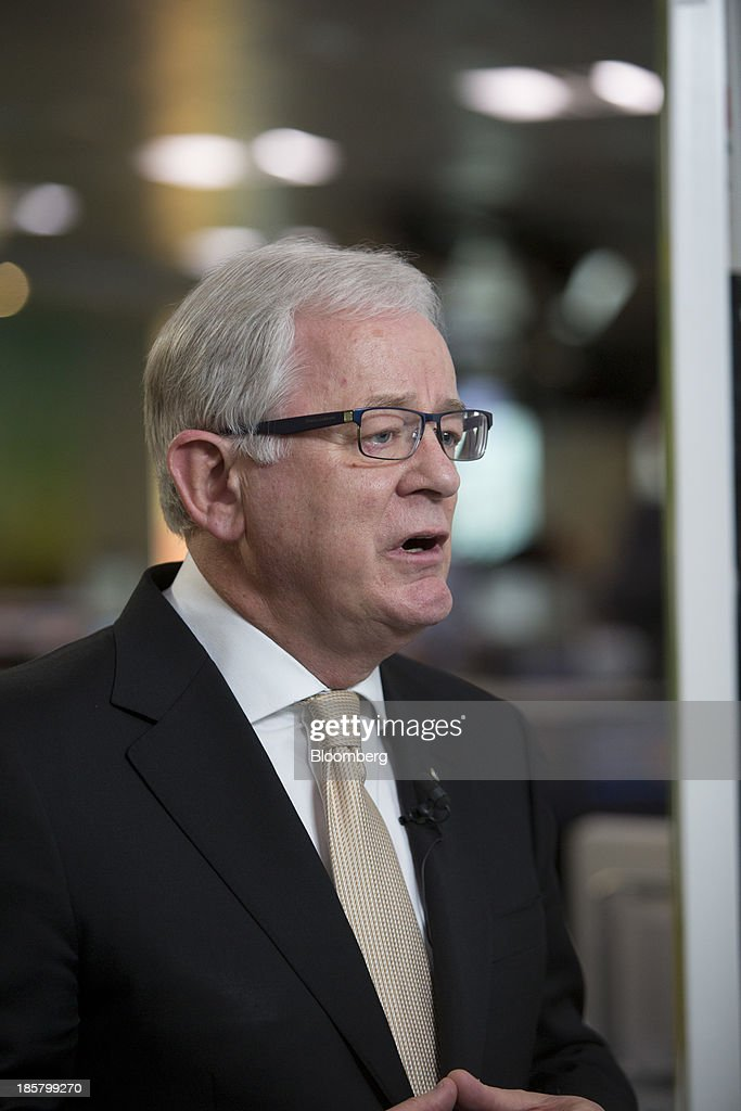 Andrew Robb, Australia's trade and investment minister, speaks during a Bloomberg Television interview in Hong Kong, China, on Friday, Oct. 25, 2013. Robb said free trade agreements with China, Japan and South Korea could be possible within 12 months. Photographer: Brent Lewin/Bloomberg via Getty Images