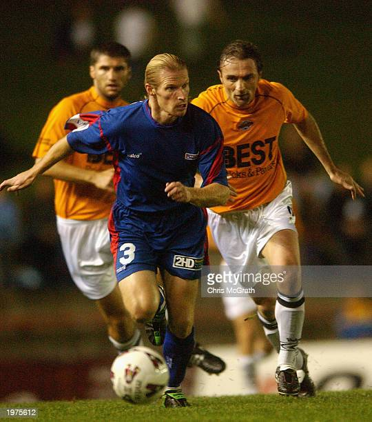 Andrew Roberts of United in action during the NSL round seven playoff match between Newcastle United and Adelaide City Force on May 2 2003 at Energy...