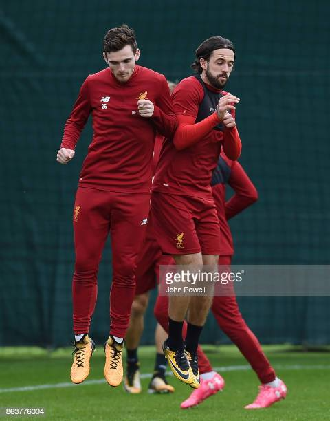 Andrew Robertson and Danny Ings of Liverpool during a training session at Melwood Training Ground on October 20 2017 in Liverpool England